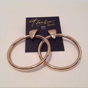Thalia Sodi Gold Tone Door Knock Hoop Earrings